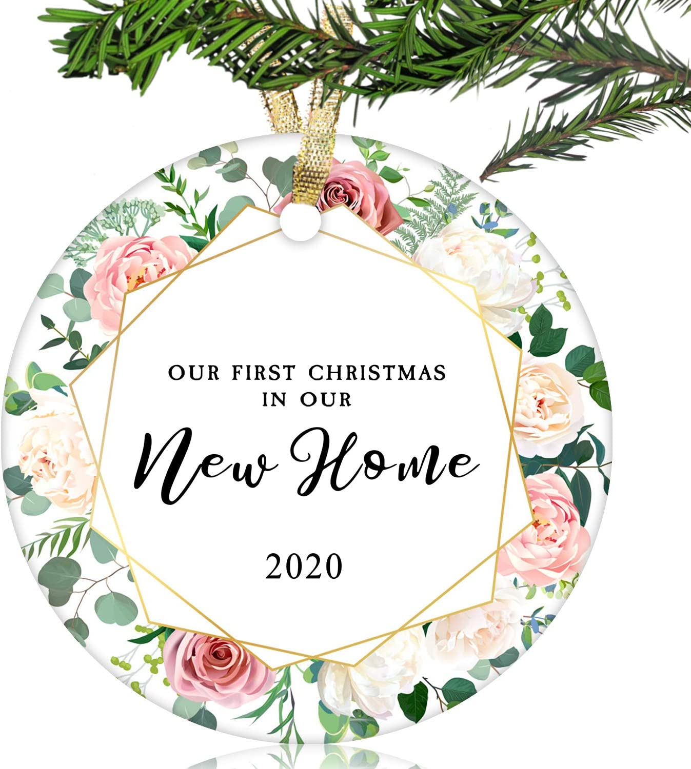 "NURIONSS Our First Christmas in Our New Home Ornaments 2020 - Christmas Wedding Decoration Gift for New Home New Homeowner New Apartment - 2.85"" Ceramic Ornament(New Home 18)"