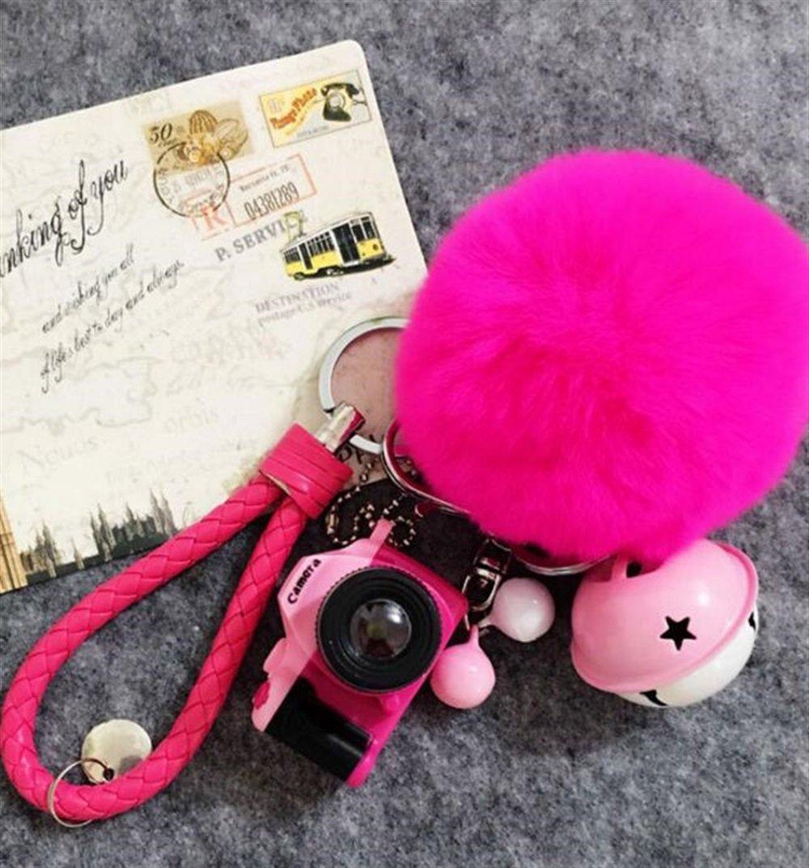 Tery Baby Toddler giocattoli giocattoli elettronic Portachiavi per macchina fotografica d'ardore Portachiavi auto femminile con palla pelosa (rosso rosa)
