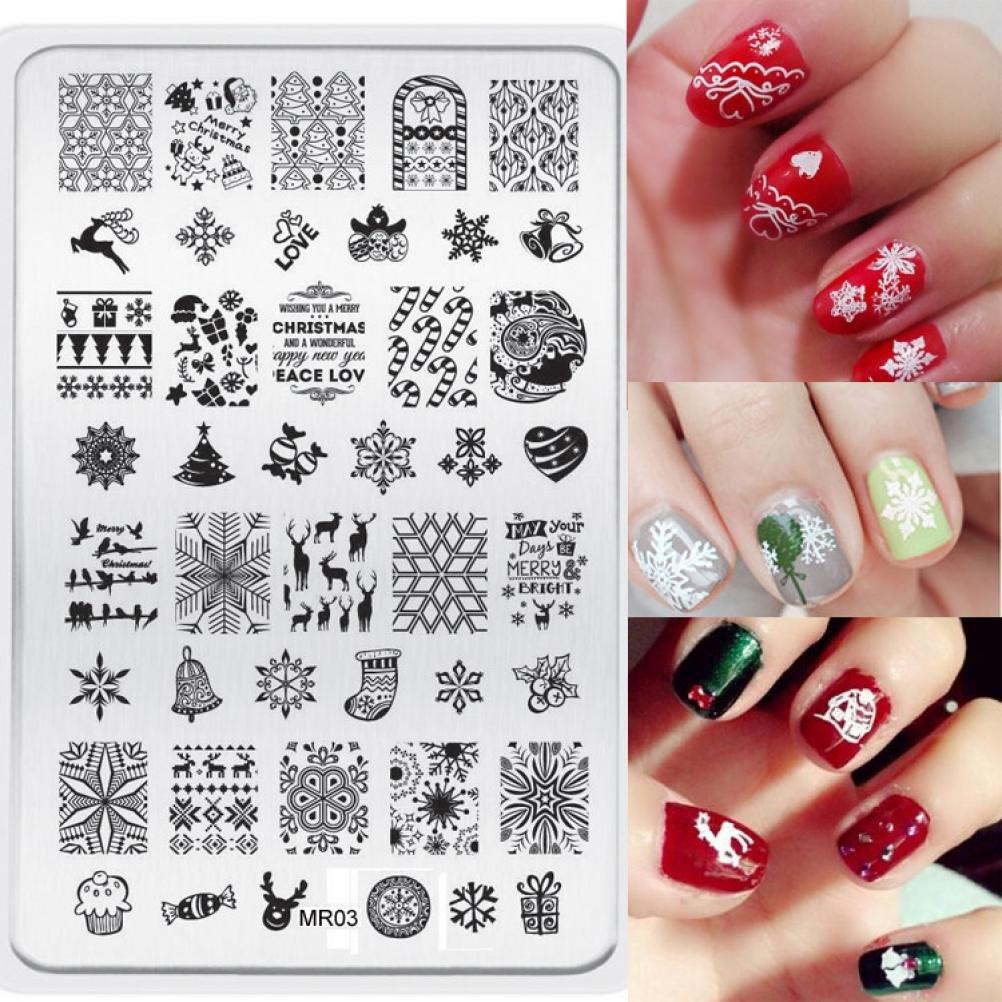 Malloom® navidad imagen DIY Clavo Arte de uñas sello estampación placas Plantilla de manicura Malloom®35
