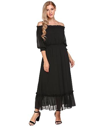 Meaneor Damen Chiffon Kleid Elegant Festlich Abendkleid Kurzarm  Schulterfrei Maxikleid Partykleid Cocktailkleid 89f64021fd