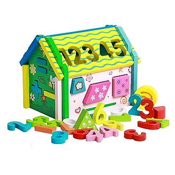Millya Early Educational Toys - Caseta de muñecas de madera para niños con números y forma