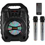 EARISE T26 Pro Karaoke Machine with 2 Wireless Microphones, Portable PA System Bluetooth PA Loudspeaker with LED Lights…