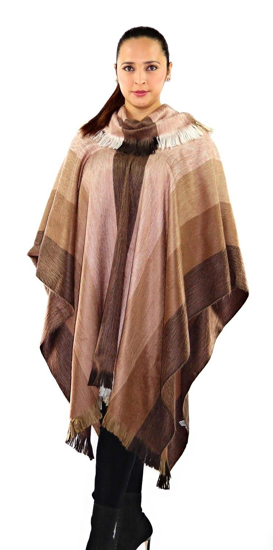 Chestnut QUICHUA ARTISANAL Handmade Peruvian Striped Alpaca Poncho