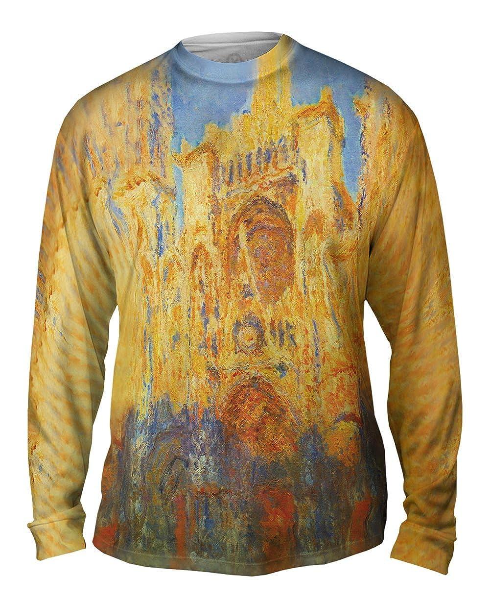 Yizzam Mens Long Sleeve 1893 Rouen Cathedral Sunset -TShirt Monet