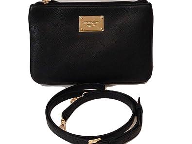 a9de0638cf19 Michael Kors Large Triple Zip Gusset Crossbody Black Leather: Handbags:  Amazon.com