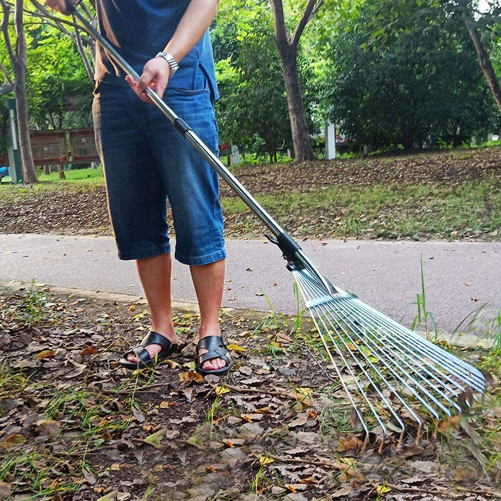 Stainless Steel Telescopic Hoe Grass Tool Esplic Adjustable Garden Leaf Rake Multi-toothed Metal Rake for Quick Clean Up Deciduous Hay Grass of Lawn and Yard
