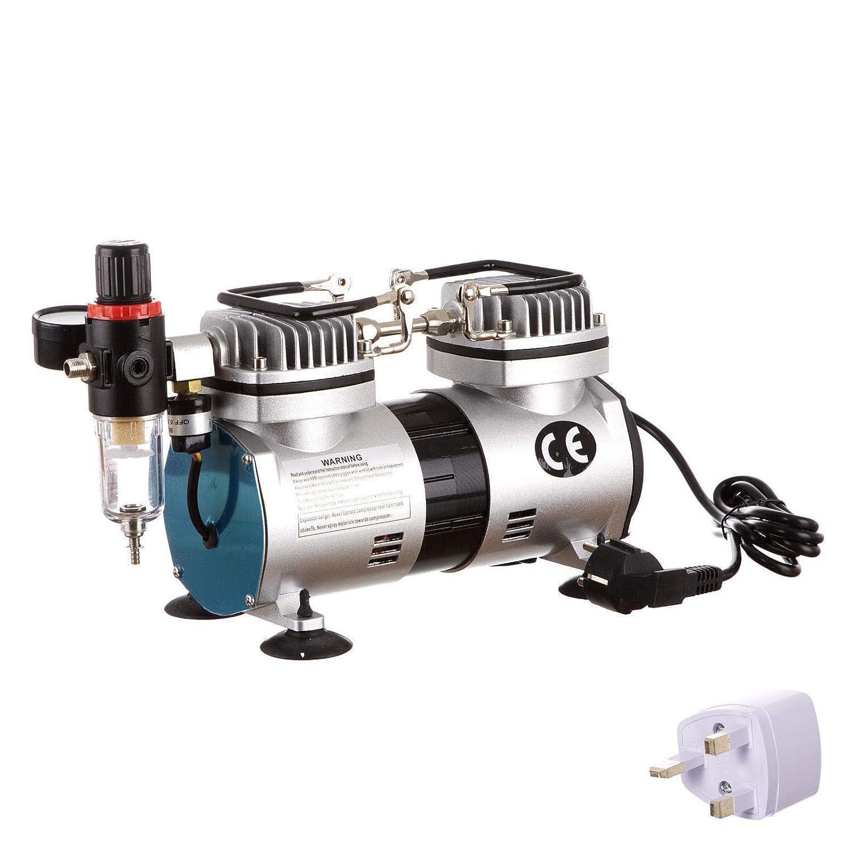 Aerógrafo Mini pistola pulverizadora Aerógrafo Compresor de aire Doble piston sin aceite Máquina de compresor de aire: Amazon.es: Bricolaje y herramientas