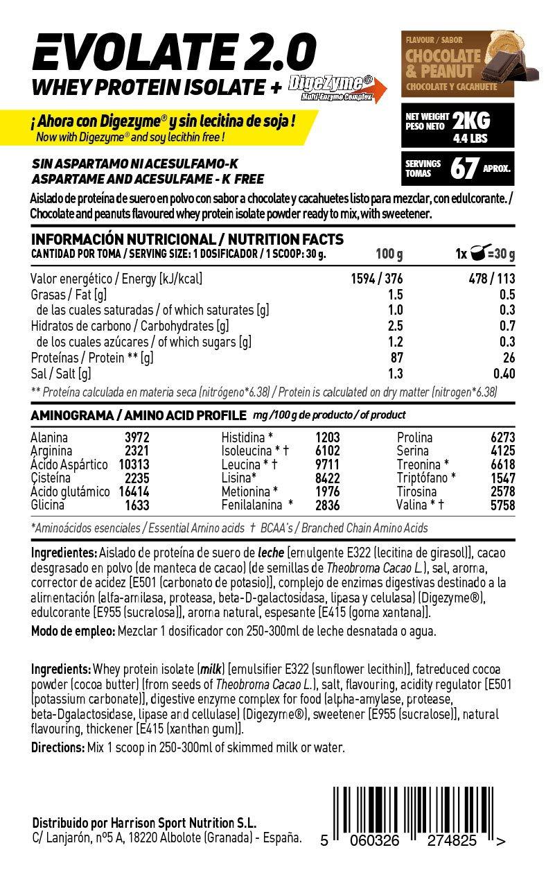 Whey Protein Isolate (WPI) de HSN Sports - Aislado de Proteína de Suero Evolate 2.0 - Sabor Chocolate Cacahuete - 2000 gr
