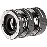 Movo MT-NM47 3-Piece AF Chrome Macro Extension Tube Set for Nikon AW1, V1, V2, V3, J1, J2, J3, J4, J5, S1, S2 Mirrorless Came