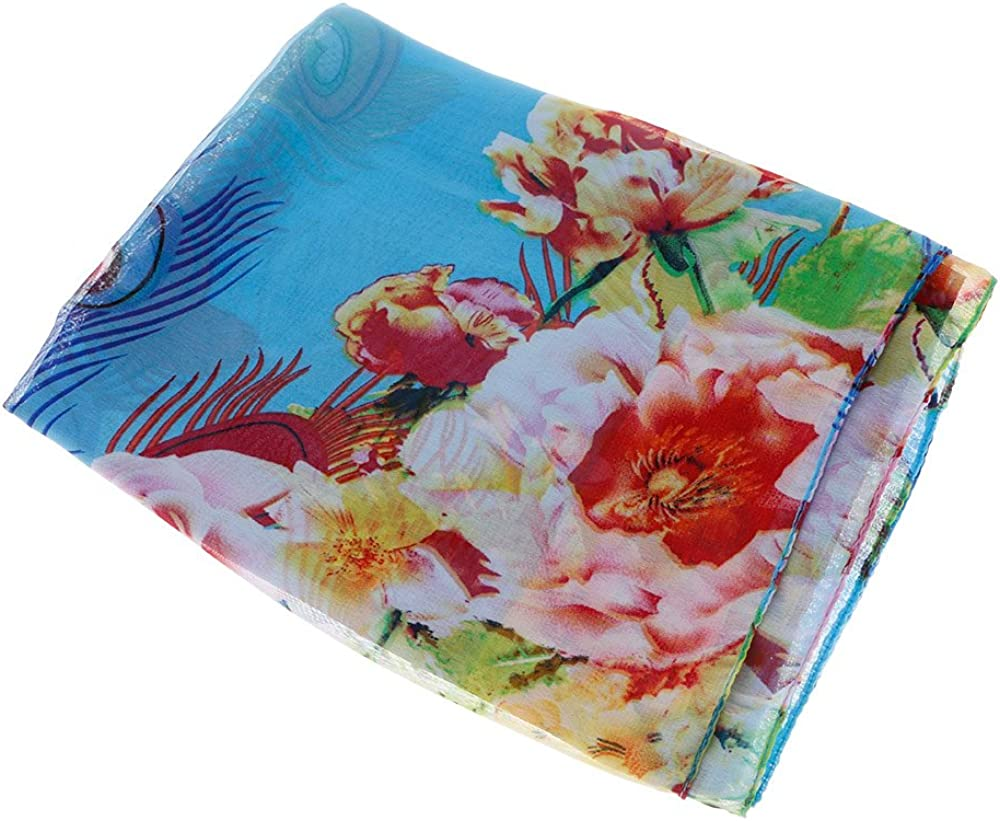 Sun Chiffon Scarf Peacock Feather Pattern Colorful Comfortable Chic Flowers
