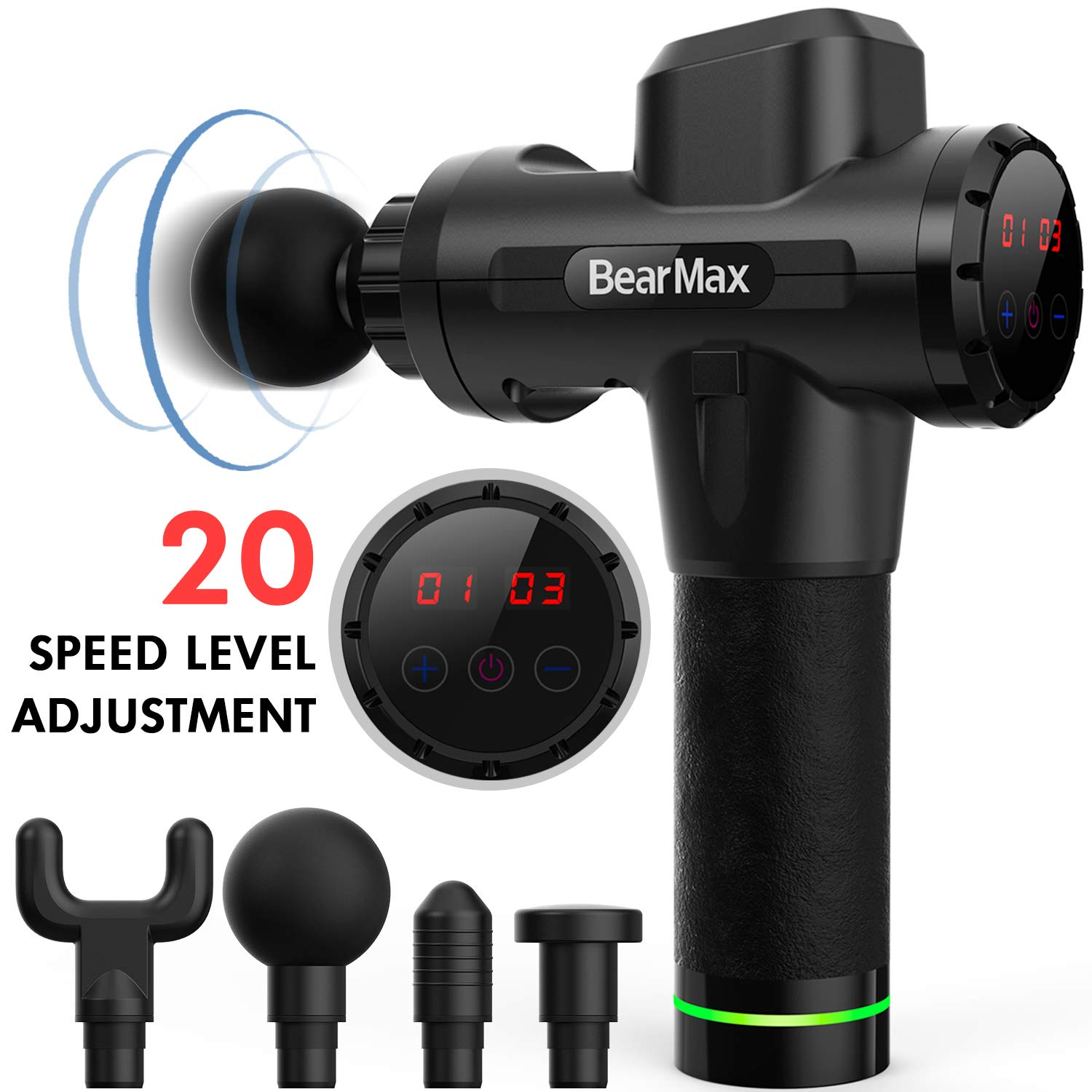 Bearmax Massage Gun New Upgraded Muscle Massager Ultra-Quiet 20 Speeds Level Deep Tissue Massager for Muscle Tension Relief Black