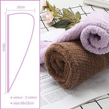 Magicfun Cabello Turbante, Microfibra Toalla para Secar con Botón Suave Absorbentes de Agua Pelo Seco Sombreros para Ducha (Marrón Morado)