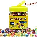 Perles d'eau, QMay 42000 Pcs Gel d'eau Perles Perles Rainbow Mix Gel Bead for Vase Filler, Centerpiece, Décoration, Plantes, Jouets