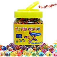 Perles d'eau, QMay 42000 Pcs Gel d'eau Perles Perles Rainbow Mix Gel Bead for Vase Filler, Centerpiece, Décoration, Plantes, Jouets
