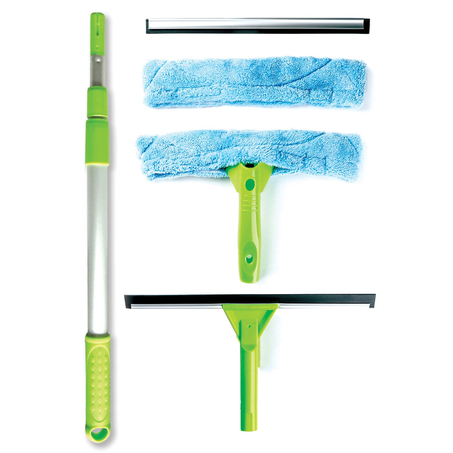 Telescopic Window Cleaning Kit with Super Squeegee, Light Weight, All-In-One 5 Piece Set - Microfiber Glass Washer (2), Soft Rubber Strip (2) and 3- Section Aluminum Extension Pole, Best for Windows