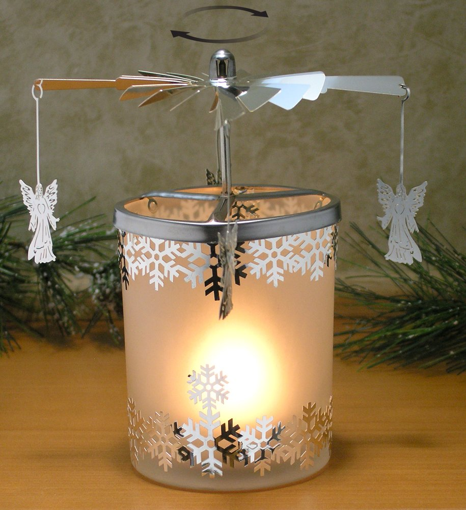 Christmas decoration with candles that spins - Amazon Com Spinning Candle Frosted Glass Spinning Candle Holder Angels And Snowflakes Silver Metal With Laser Cut Design Scandinavian Style