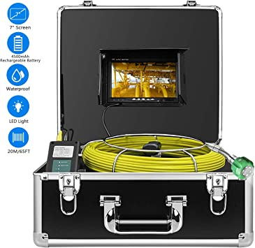 Drain Sewer Industrial Endoscope Anysun PIC20 Waterproof IP68 20M//65ft Snake Video System with 7 Inch LCD Monitor 1000TVL Sony CCD Camera Pipe Inspection Camera