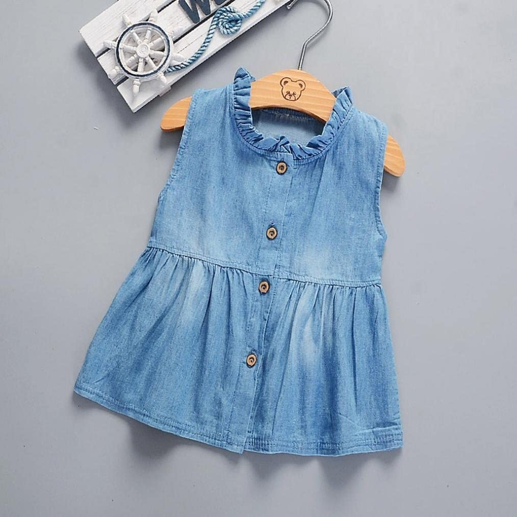 Wanshop Baby Girls Denim Dress Short Sleeve Lace Princess Party Skirts for 0-2 Years Old Newborn Infants Outfit Dress