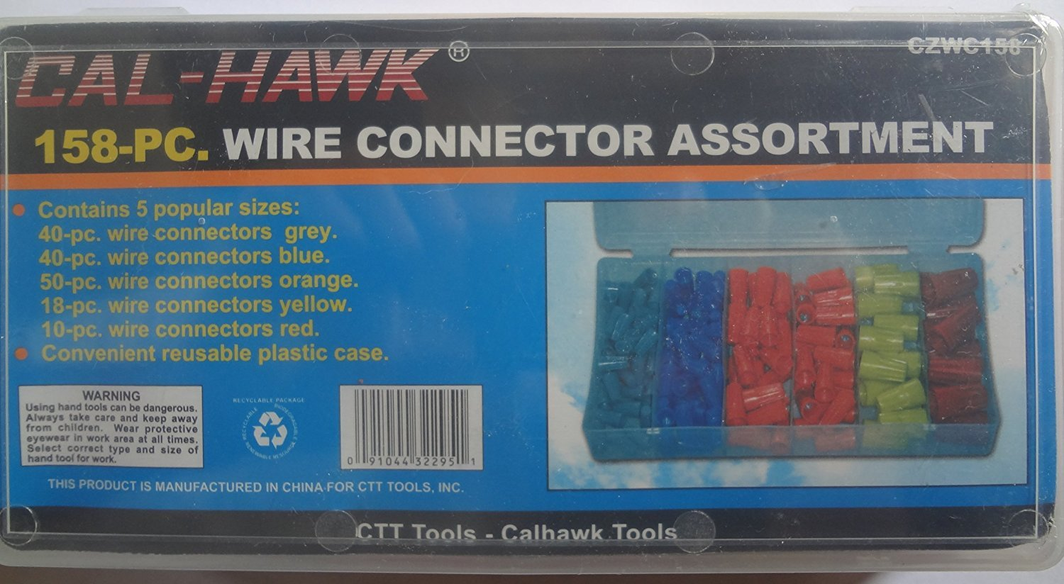 Cal-hawk Wire Connectors - 158 Pieces, with Plastic Storage Case ...