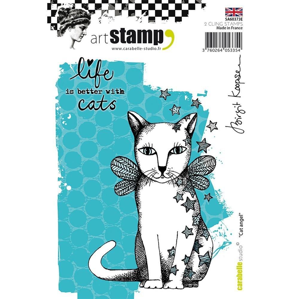 Carabelle Studio Cat Angel Cling Stamp A6 by Birgit Koopsen