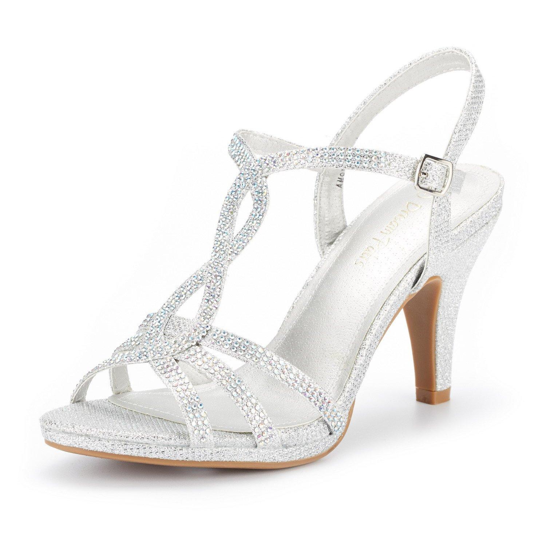DREAM PAIRS Women's Amore_3 Silver Glitter Fashion Stilettos Open Toe Pump Heel Sandals Size 8.5 B(M) US by DREAM PAIRS
