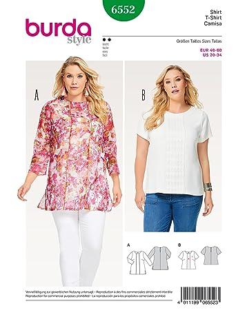 Burda 6552 Schnittmuster Shirt und Bluse (Damen, Gr. 40 60) Level 2 leicht
