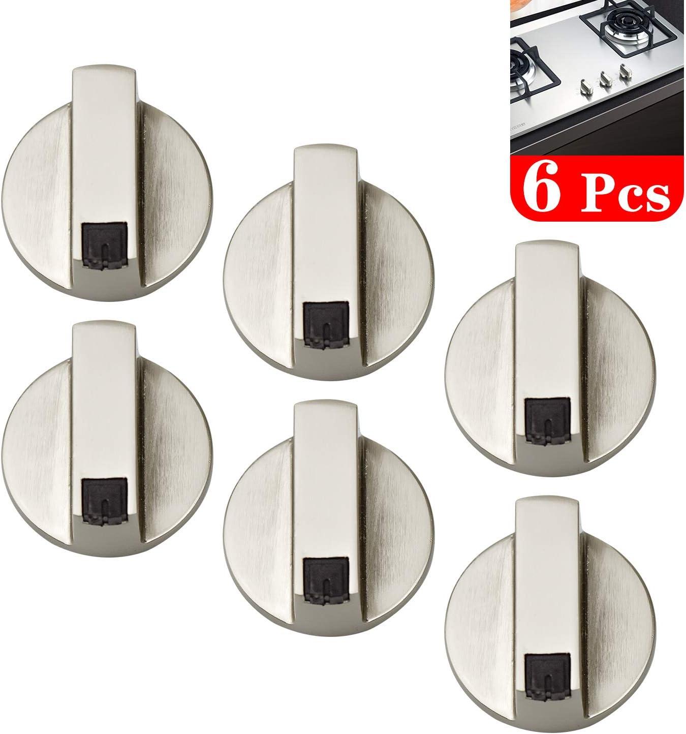 Hentek 6 Pcs Botones Mandos Cocina Gas, Botones Universal de Interruptor para Mayoría Las Horno, Cocina, Estufa de Gas, 6mm