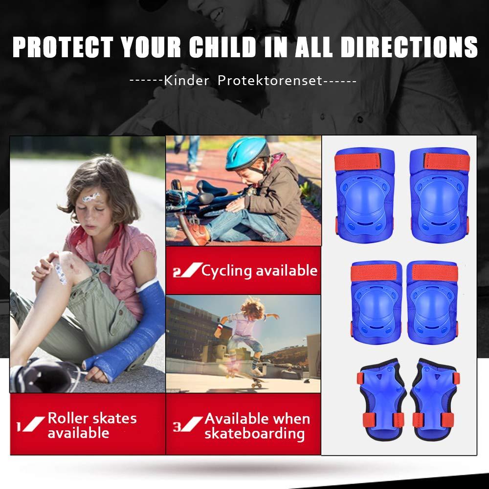 Skateboard oder Radfahren(Blau) TBoonor Kinder Knieschoner Set Kinder Protektorenset f/ür Ellenbogenschoner Knieschoner Handgelenkschoner Kinder Kniesch/ützer f/ür Rollerblades