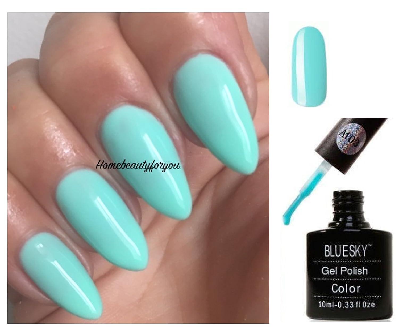 Bluesky A103 Pastel Sky Turquoise Light Mint Nail Gel Polish UV LED ...
