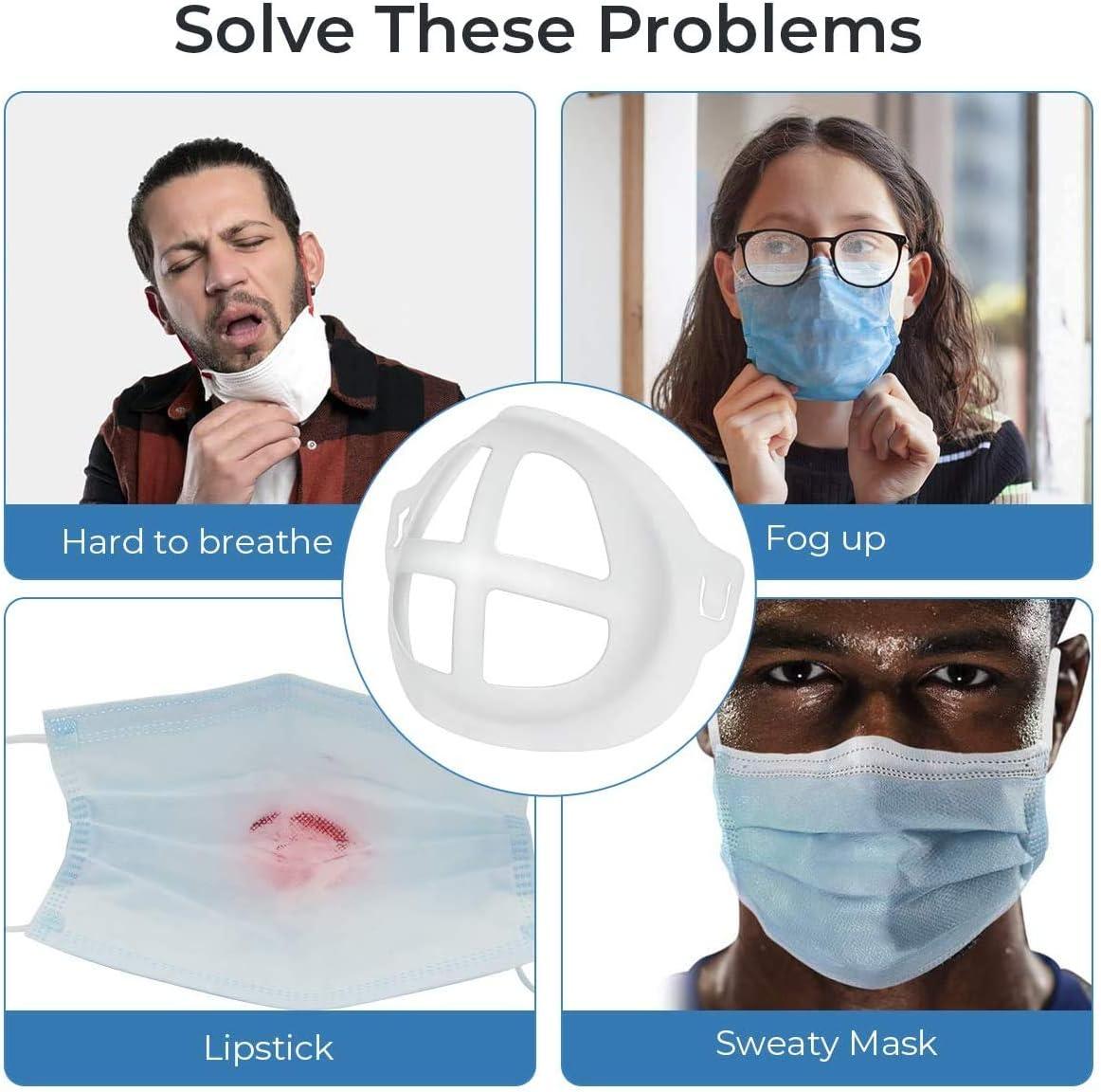 Support de Protection pour Rouge /à l/èvres Augmente lespace de Respiration ZXSE 100PCS 3D Silicone Mas-k Bracket ,Coussin int/érieur de Mas-Que