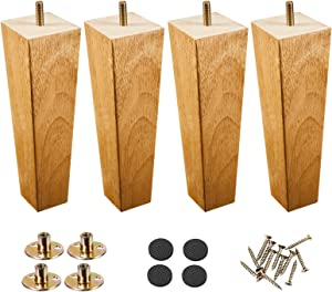 Wood Furniture Legs 8 inch Couch Legs,Pack of 4 Square Couch Legs, Mid Century Desk Legs Espresso, Replacement Legs for Couch for Dresser Legs Sideboard Recliner Couch Circle (8inch, Wood Color)