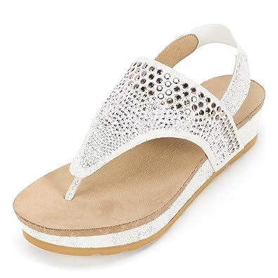 aff4d6845e Amazon.com | WHITE MOUNTAIN 'Safari' Women's Sandal, White E-Print - 9.5 M  | Platforms & Wedges
