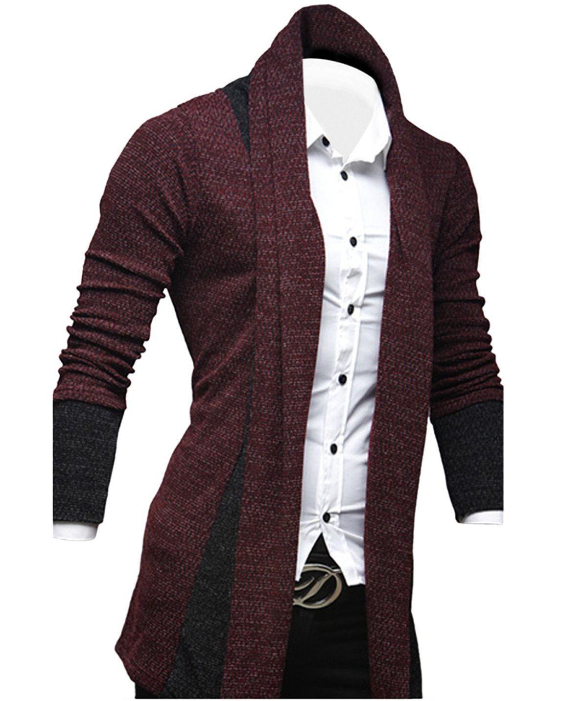 Tom's Ware Mens Classic Fashion Marled Open-Front Shawl Collar Cardigan TWGG1308-WINE-US M by Tom's Ware