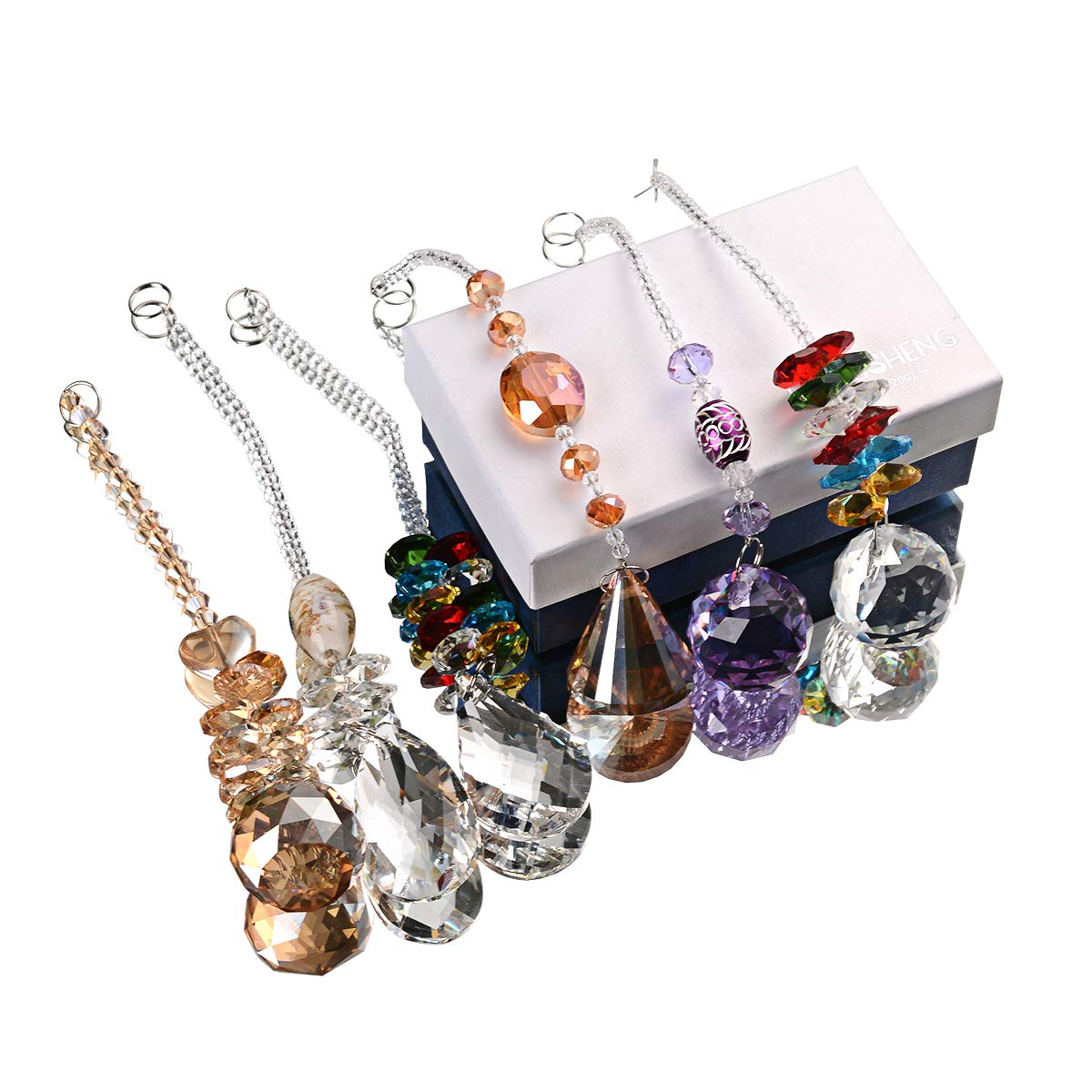 Chandelier Suncatchers Prisms Octogon Chakra Crystal Balls for Home,Office,Garden Decoration Set of 6 Beautiful Pendants for Car,Plant,Window Decor Octagonal,Teardrop /& Cone Shaped Prisms