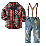 KiKibaby Baby Boys Gentleman Red Outfits Suits, Infant Long Sleeve Plaid Shirt+ Denim Long Pants+Bow Tie Overalls Clothes Set