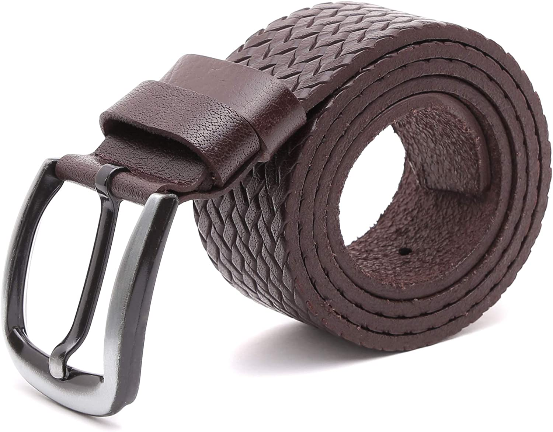 VITACCI Men Braided Leather Belt Dress Belt Single Buckle