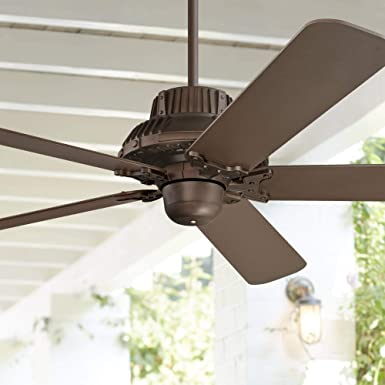 60 Industrial Forge Rustic Outdoor Ceiling Fan Oil Rubbed Bronze Damp Rated for Patio Porch – Casa Vieja