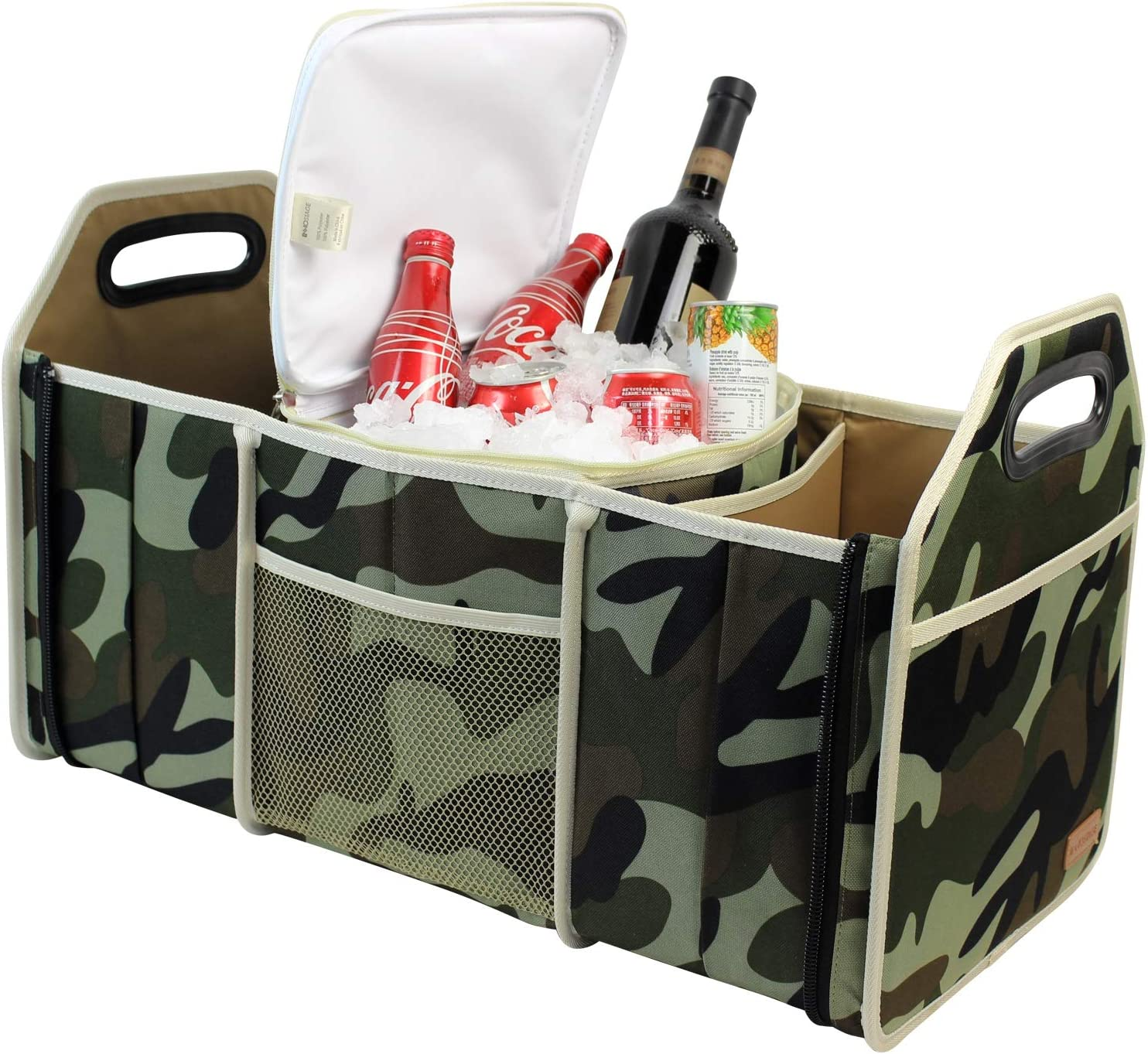 INNO STAGE Car Trunk Organizer, Collapsible Cargo Container Bin with Waterproof Cooler Carrier Bag for Front or Backseat Storage Camouflage