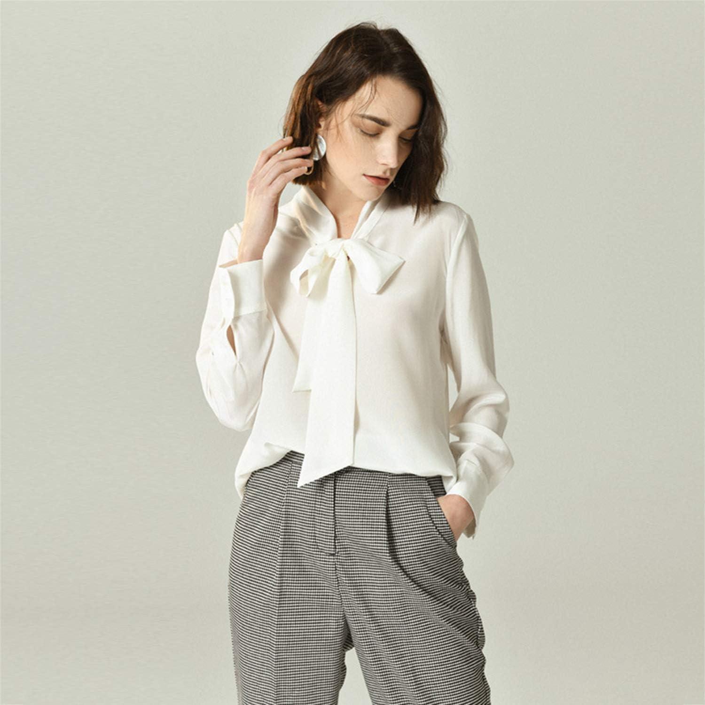 XCXDX Camisa Blanca De Lazo para Mujer, Blusa De Seda De ...