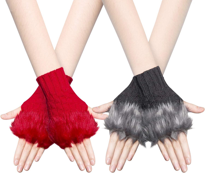 Bearbro 2 paires Mitaines Gants Femme Hiver Mitaines Sans Doigts Chaud Poignet Main Bras Mitaines Tricot/és Simples Elegants