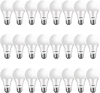 24 Pack Led Bulbs 60 Watt A19, Warm White 3000K, E26 Medium Base LED Light Bulbs, 750 Lumens, Non-dimmable, UL Listed