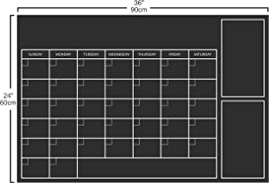 OFISSON Extra Large (24 x36 inches) Self-Adhesive Peel & Stick Chalkboard Wall Monthly Planner Peel and Stick Adhesive Erasable Calendar for Home, School, Office.
