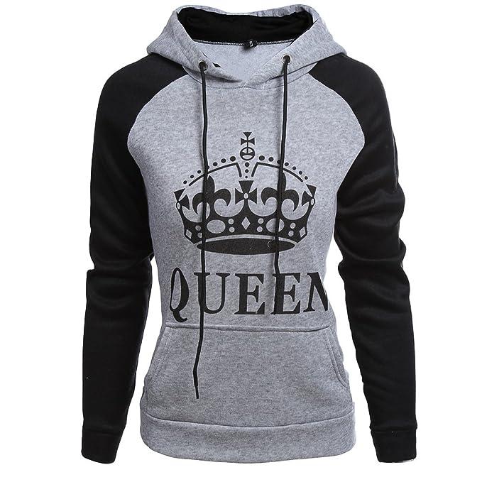 Pareja Sudaderas con Capucha Mujeres y Hombres KING & QUEEN Corona Impresión Encapuchado Camisas Jersey Hoodie