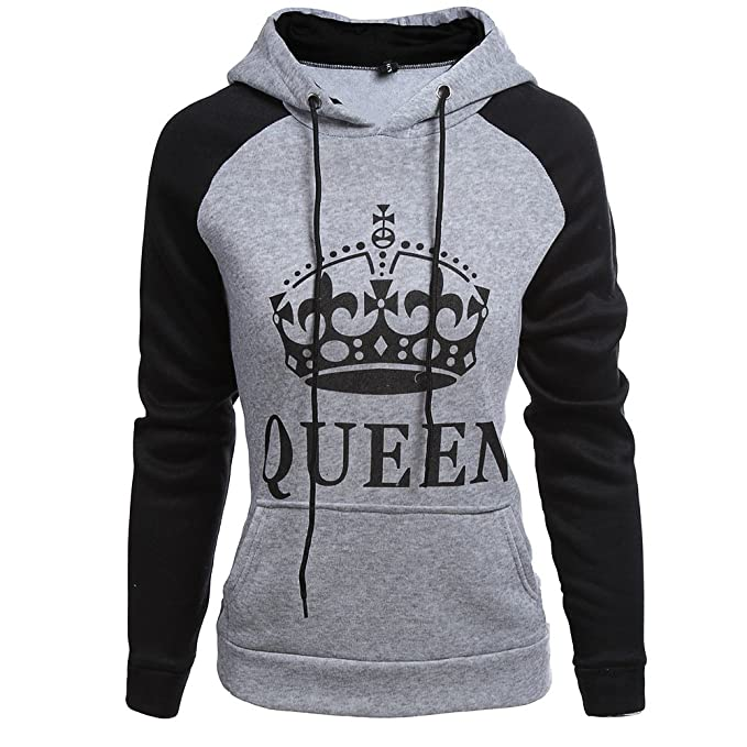 MissChild Pareja King & Queen Sudaderas Hoodies Pullover Oto_o Moda con Capucha Manga Larga Encapuchado Jersey