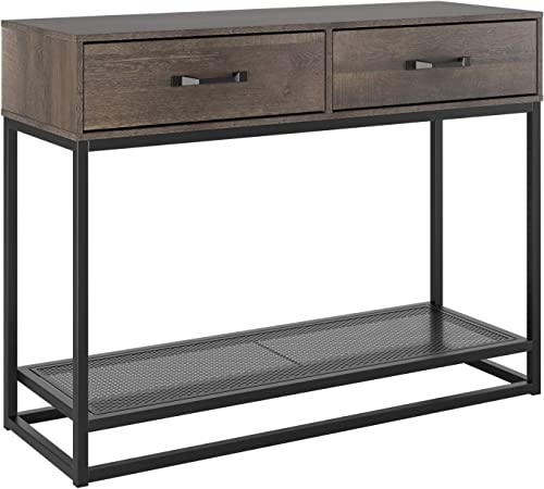 HOMECHO Console Table, Sofa Table, Industrial Entryway Table with 2 Drawers and Storage Shelf, for Entryway Hallway Living Room 40 , Rustic Brown