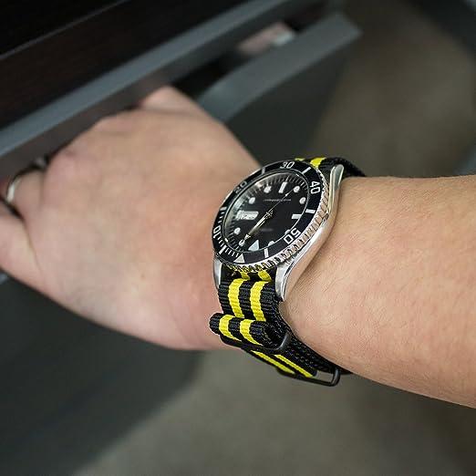MiLTAT 20 mm G10 estilo militar de la OTAN reloj banda, correa de nailon, PVD negro, negro y amarillo: Amazon.es: Relojes