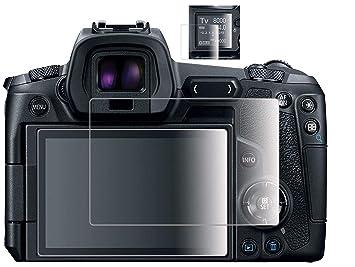Komet Protector de pantalla de cristal compatible con Canon EOS R EOSR LCD + pantalla de hombro, película de cristal templado para Canon eosr cámara digital ...