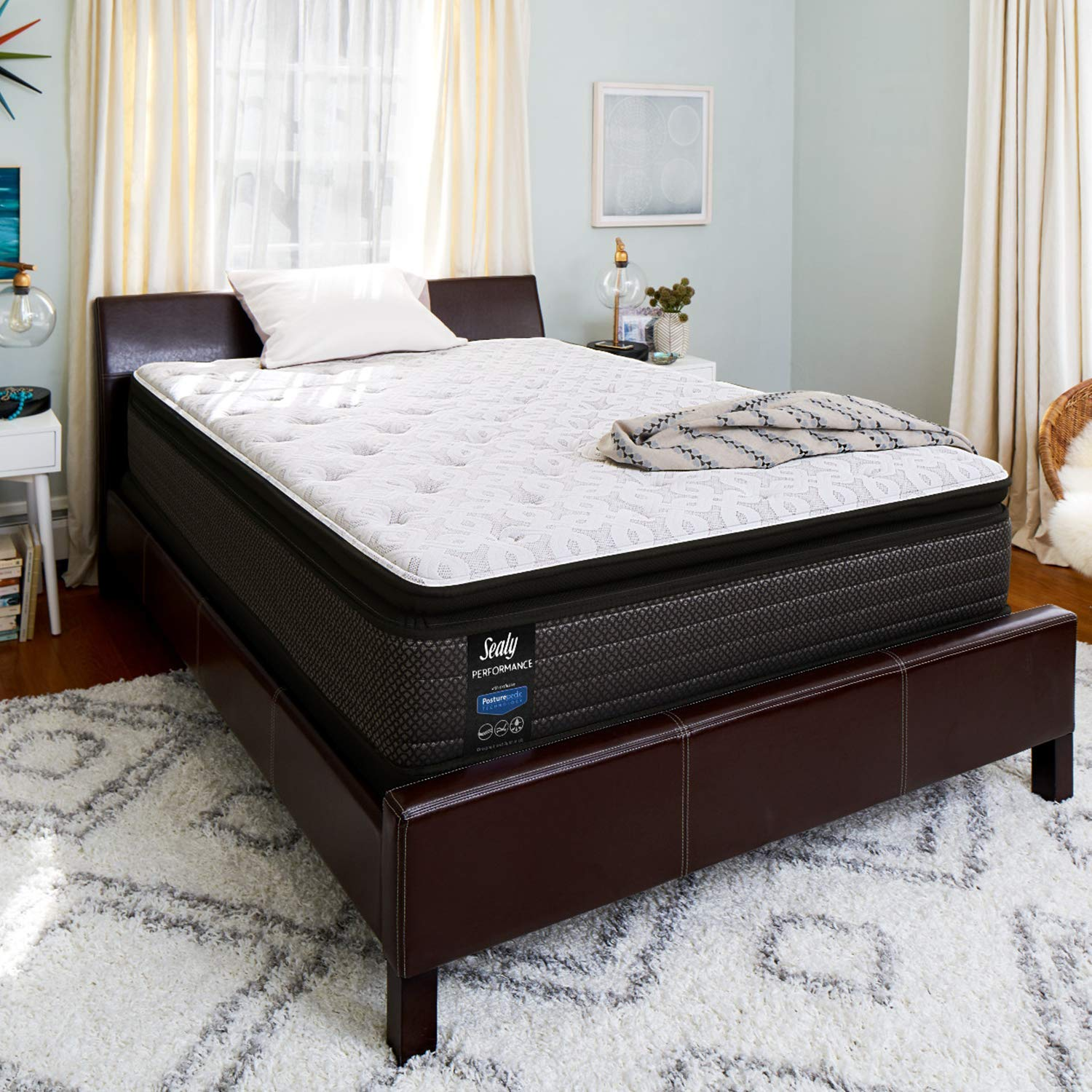 Sealy 14-Inch Cushion Firm Euro Pillow Top Mattress, King, Made in USA, 10 Year Warranty by Sealy