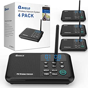 QNIGLO Wireless Intercoms Systems Long Range 0-22 Channel Wireless Intercoms for Home Office Business with Display Screen (2018,Upgraded Version,4 PCS)