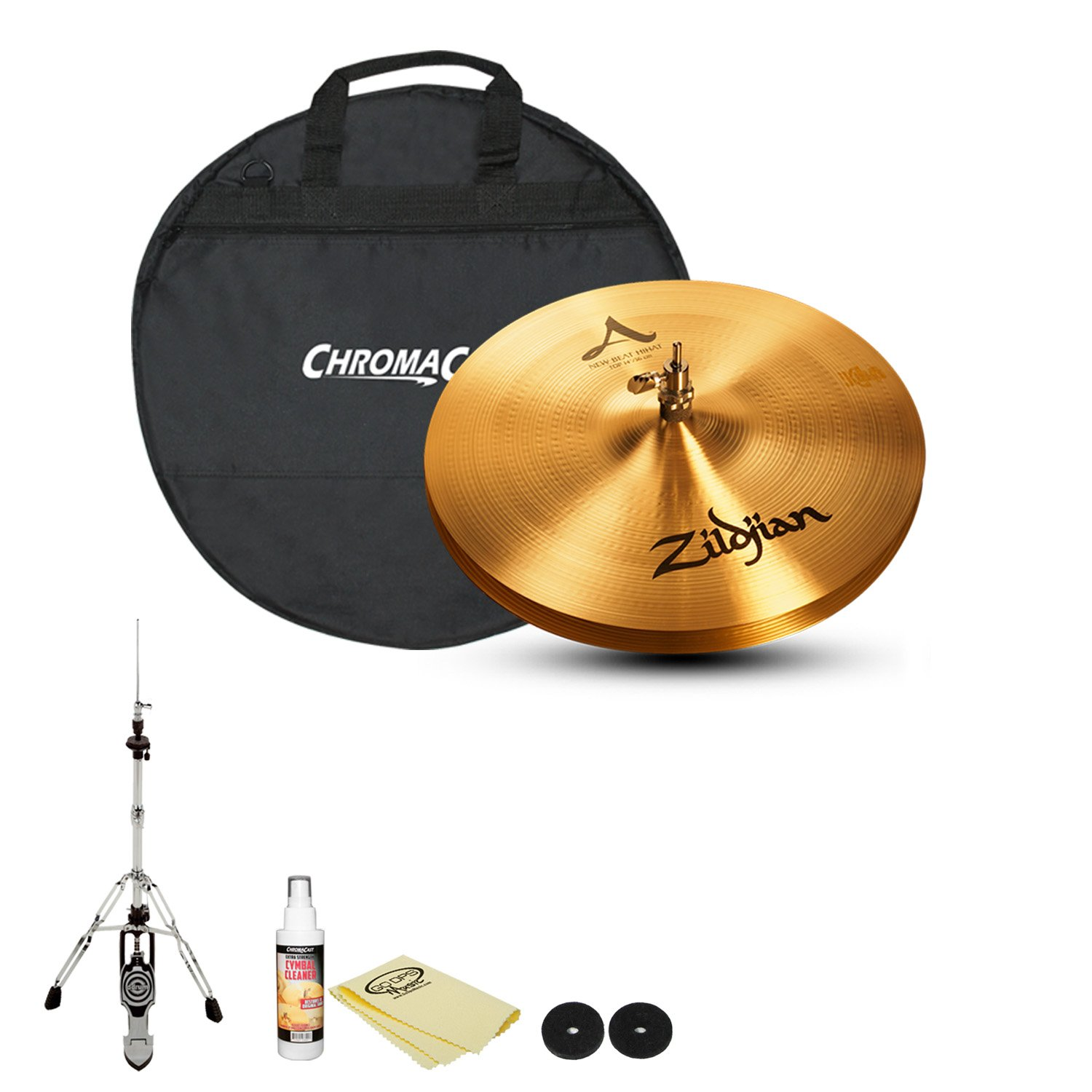 Zildjian 14'' A New Beat HiHats (A0133) with Felts, HiHat Stand, Cymbal Bag, Cleaner and Polish Cloth by GoDpsMusic